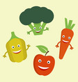 Funny cartoon vegetables flat
