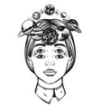 hand drawn of womens head with planets sun and vector image vector image