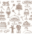 hand drawn seamless pattern with sweets vector image vector image