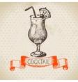 hand drawn sketch cocktail vintage background vector image vector image