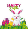 happy easter card white rabbit sitting with vector image