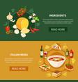 italian food horizontal banners vector image