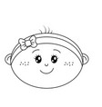 line cute baby girl face with ribbon bow