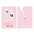 little houses holiday card vector image