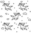magic unicorns in clouds seamless pattern vector image