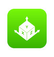 measurement cube square icon digital green vector image vector image