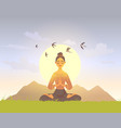 meditation girl nature vector image vector image