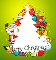 Merry Christmas card with tree and Santa vector image