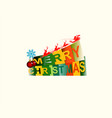 merry christmas with santa claus on deer vector image vector image