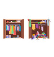 messy clothes wardrobe modern interior storage vector image vector image