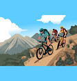 mountain bikers in the mountain vector image vector image