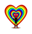 multicolored hearts on a white background with a vector image vector image
