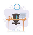 office workspace desk chair computer coffee cup vector image vector image