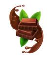 pieces chocolate in sweet choco liquid splash vector image