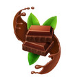 pieces of chocolate in sweet choco liquid splash vector image vector image