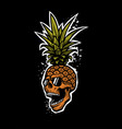 pineapple skull in a sunglasses tee shirt vector image vector image