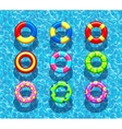 Pool rings on blue water background vector image vector image