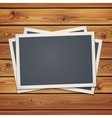 realistic vintage photo frames on planks vector image vector image