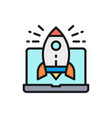 rocket launch from laptop startup flat vector image