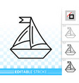 sailing ship simple black line icon vector image vector image