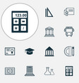 school icons set collection of college diploma vector image vector image