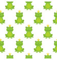 seamless pattern with cute frogs and crowns vector image vector image