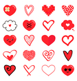 Set collection of various red hearts vector image vector image
