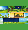 set different nature place scene in vertical vector image vector image