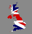 silhouette country borders map of united kingdom vector image