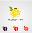 techno fruit logo icon element and template vector image vector image