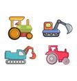 tractor icon set cartoon style vector image vector image