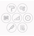 Triangular rule paint roller and fretsaw icons vector image vector image