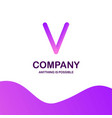 v company logo design with purple theme vector image