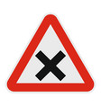 warning of intersection road icon flat style vector image