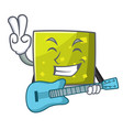 with guitar square mascot cartoon style vector image vector image