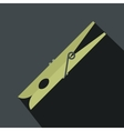 wooden clothes pin flat vector image