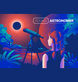 young astronomer art vector image vector image