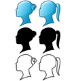 Woman Head Icon and Silhouette Pack vector image