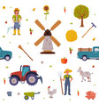 agricultural objects seamless pattern agriculture vector image vector image