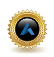 ardor cryptocurrency coin gold badge vector image vector image