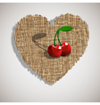 artistic cherry on weave heart vector image