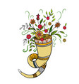 autumn cornucopia with flowers vector image