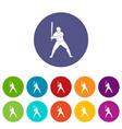 baseball player with bat icons set flat vector image vector image