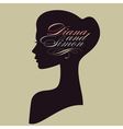 Beautiful female face silhouette in profile vector image vector image