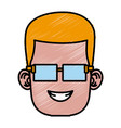 boy with glasses cartoon vector image