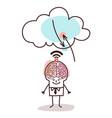 cartoon big brain man and cloud connexion vector image