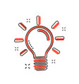 cartoon light bulb icon in comic style idea sign vector image