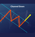 channel down forex figure red and yellow arrow vector image vector image