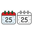 christmas calendar icon on white background vector image