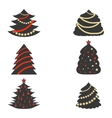 Christmas Trees with Color Garlands vector image vector image
